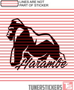 Harambe Cursive Window Decal Sticker